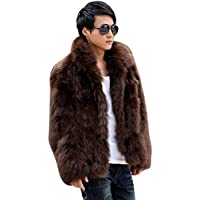 Zicac Men's Long Sleeve Faux Fur Jacket Hook & Eye Closed Luxury Coat Parka