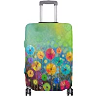 Mydaily Floral Daisy Watercolor Spring Flower Luggage Cover Fits 18-32 Inch Suitcase Spandex Travel Protector