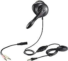 iBUFFALO 片耳 耳掛け式ヘッドセット4極&3極プラグ搭載 ブラック BSHSECM01BK