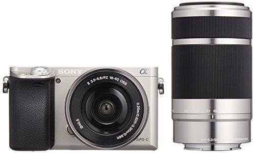 ソニー SONY ミラーレス一眼 α6000 ダブルズームレンズキット E PZ 16-50mm F3.5-5.6 OSS + E 55-210mm F4.5-6.3 OSS シルバー ILCE-6000Y S