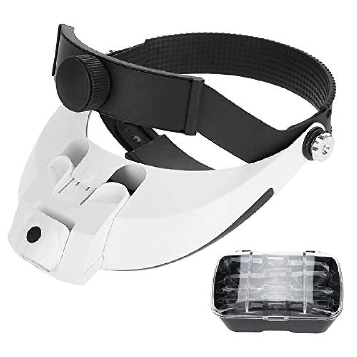 素晴らしい良い多くの冷淡なほとんどないSalmueヘッドマウント2LEDランプ拡大鏡産業メンテナンス拡大鏡老人読書ヘルメットジュエリー修理メガネと5レンズ