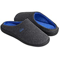 BERGMAN KELLY Men's Slippers, Two-Tone Cotton/Spandex Non-Slip Indoor/Outdoor Men's House Shoes (Ranger Collection)