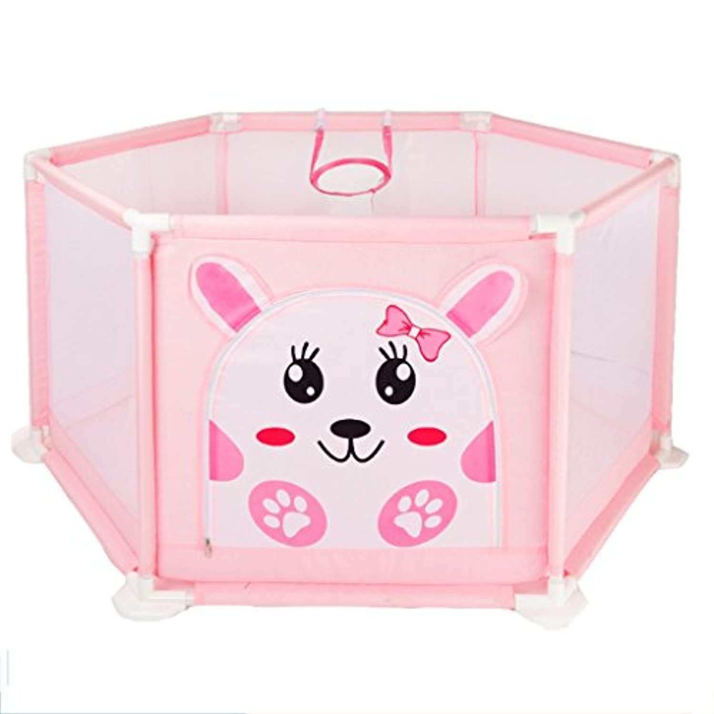 子供の遊び場子供の遊び場子供の遊び場子供の遊び場子供の遊び場ガールセーフティーガードレール (Color : Pink, Size : 76 * 65 * 127cm)