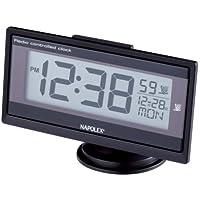 ナポレックス 車用 電波時計 Fizz 薄型 ブラック 大型液晶 角度調整 配線不要 LEDバックライト Fizz-960