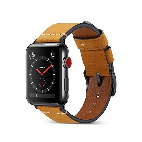 Yakia Apple Watchバンド 本革 アップルウォッチバンド 高級 レザー製 アップルウォッチ ベルト 取付け簡単 iWatch腕時計ストラップ Apple Watch Series 4 / 3 / 2 /1対応 スポーツバンド 42/44mm ブラウン