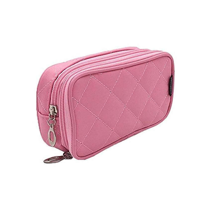 風景見込み豊富なKingsie 化粧ポーチ 化粧バッグ 機能的 化粧品 ブラシ収納 メイク収納 トラベルポーチ コスメポーチ 2層 鏡付き (ピンク)