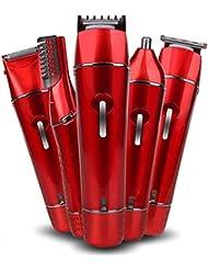 女性のヘアリムーバー、5 in 1 USB充電式レディース電気シェーバー、女性用かみそりビキニトリマー、顔/ボディ/脇下/脚用,Red