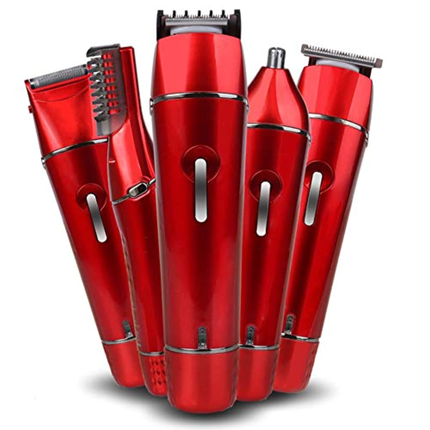 縮約散らすバング女性のヘアリムーバー、5 in 1 USB充電式レディース電気シェーバー、女性用かみそりビキニトリマー、顔/ボディ/脇下/脚用,Red
