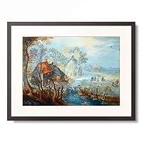 ヤン・ブリューゲル(子) Jan Brueghel de Jonge 「Weiler an einem Fluss mit Figuren, 1630.」 額装アート作品