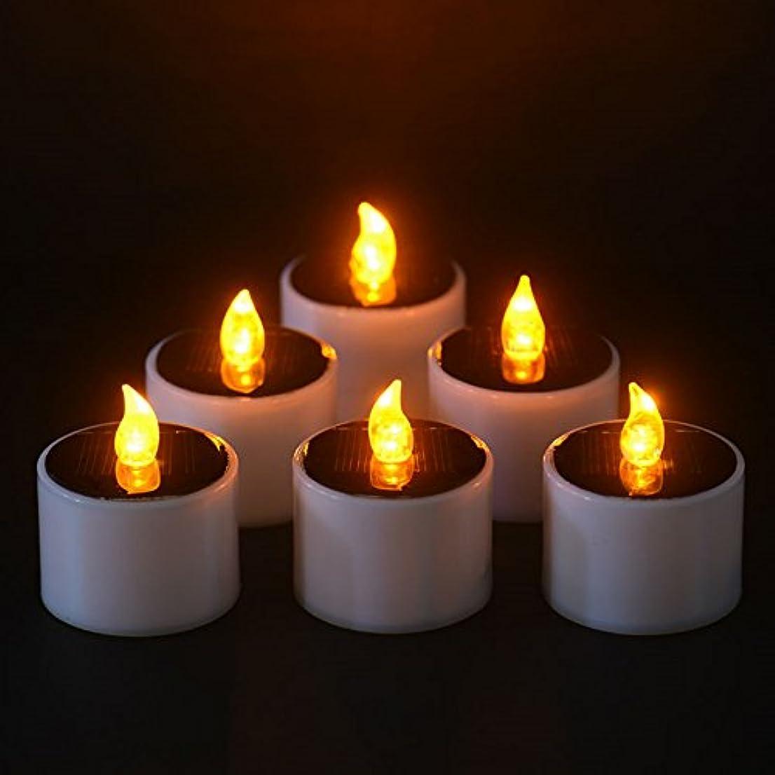 下疑い者順応性のあるソーラーキャンドル、ソーラー電源電子常夜灯LEDキャンドルライトFlameless Tealightsちらつきキャンドル、イエロー、6個のパック