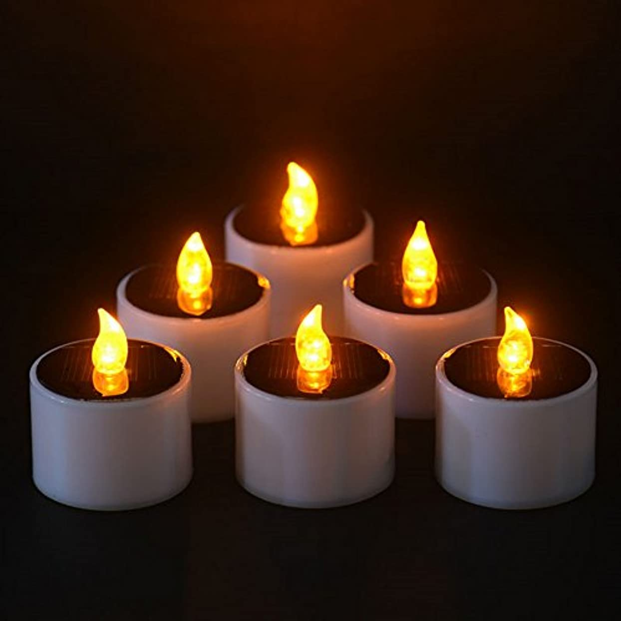 保育園苦いドックソーラーキャンドル、ソーラー電源電子常夜灯LEDキャンドルライトFlameless Tealightsちらつきキャンドル、イエロー、6個のパック