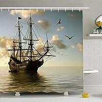 美しい風景セーリングシルエットに対して黒い船ヨット バスカーテン お風呂カーテン 間仕切り 防水 防カ 150*180cm