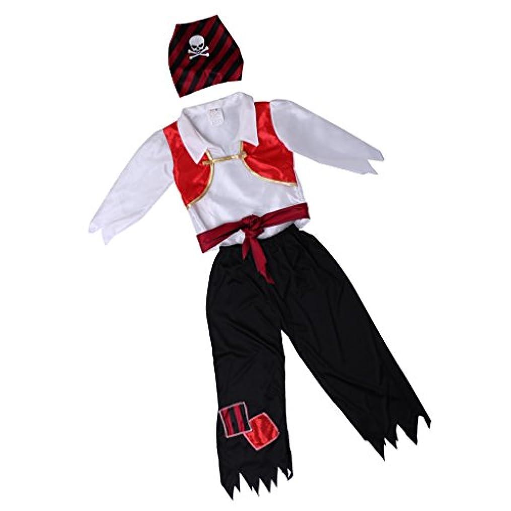 Perfk 男の子 贈り物 海賊の派手な衣装 スカル&クロスボーンのヘッドスケーターのデザイン ウエストベルト付き 全3サイズ - XL