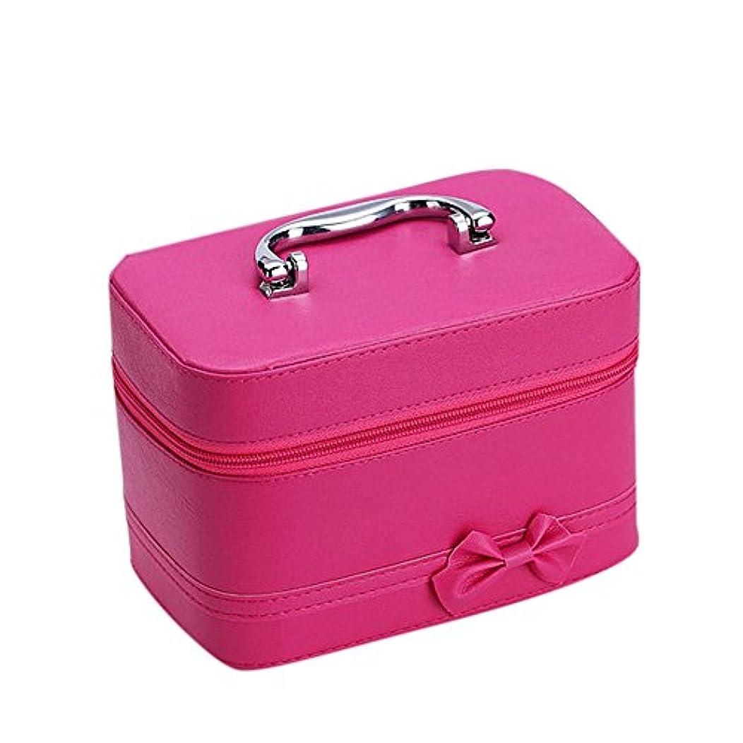 批判例外保証DRASAWEE(JP)コスメボックス ファッション 大容量 可愛い 収納ケース 防水化粧バッグ 鏡付き ハンドバッグ ダブルファスナー バラ色