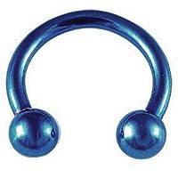 SODIAL ( R )ブルーチタンスチールU -型ボール眉リップ鼻耳トラガスHorseshoeリング8 mm