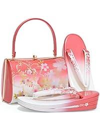 [ 京都きもの町 ] 草履バッグセット ローズ×白色 桜 LLサイズ