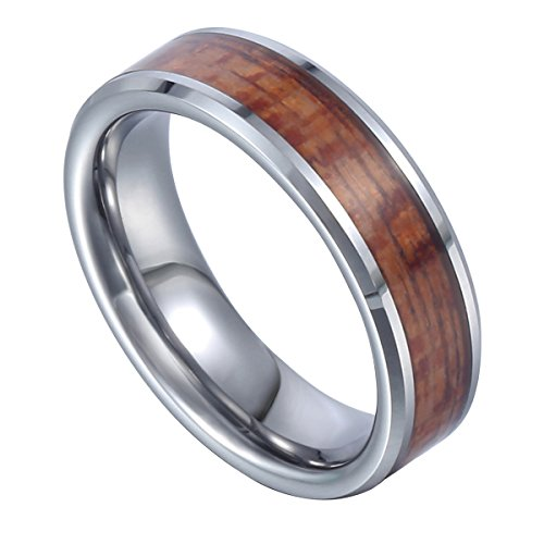Davieslee メンズ・レディース コアウッド ワイド バンドリング タングステン レアメタル ハワイアン 指輪 リング シルバー &ブラウン 幅:6mm [16号]