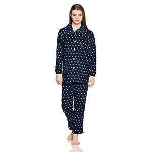 [セシール] パジャマ あったか襟つきフリースパジャマ 両面起毛 ふかふか素材 2WAY仕様 NI-201 レディース ネイビーブルー 日本 M-(日本サイズM相当)