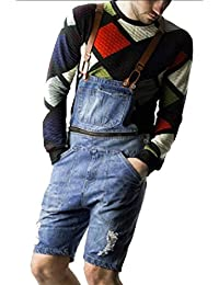 chenshiba-JP メンズカジュアルデニムジャンプスーツは、プルオーバーロンパービブオーバーオールフィット