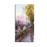 抽象 景観 アート絵画 イブニング リバーサイド 光 通行人 1パネル 装飾画 キャンバスの壁アート HD 印刷する キャンバス リビングルーム ペインティング,REEL,2
