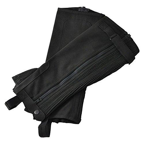 乗馬用ハーフチャップス 黒ブラック スエード風 合皮 ふくらはぎ伸縮 Klaus 軽量ライトタイプKA (M)