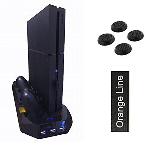 PS4 多機能縦置きスタンド コントローラー2台充電 USBハブ3ポート 【騒音ファン無し】【1年保証付き】【Orange Line】【ブラック ver.2 】