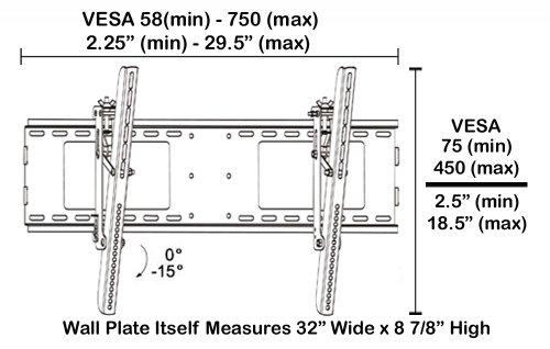 ブラック調節可能な角度調整/ Tilting壁マウントブラケットfor Sony Bravia kdl-55hx85055インチLED HDTV TV /テレビ