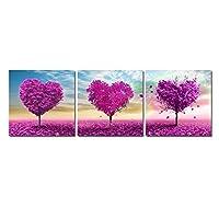 キャンバス絵画 モダンフレームポスター 美しいライラックの花の木の風景 3枚 アートパネル インテリア絵 おしゃれ壁アート プリント壁飾り 壁掛け 写真印刷の装飾 背景絵画 贈り物,40x40cmx3(フレームなし)