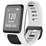 ANCOOL Compatible with Tomtom Spark 3/Runner 2 Watch Bands,Soft Silicone Watch Strap Wristband for Tomtom Runner 2/Runner 3/Spark 3/Golfer 2 Sport GPS Smartwatch-White