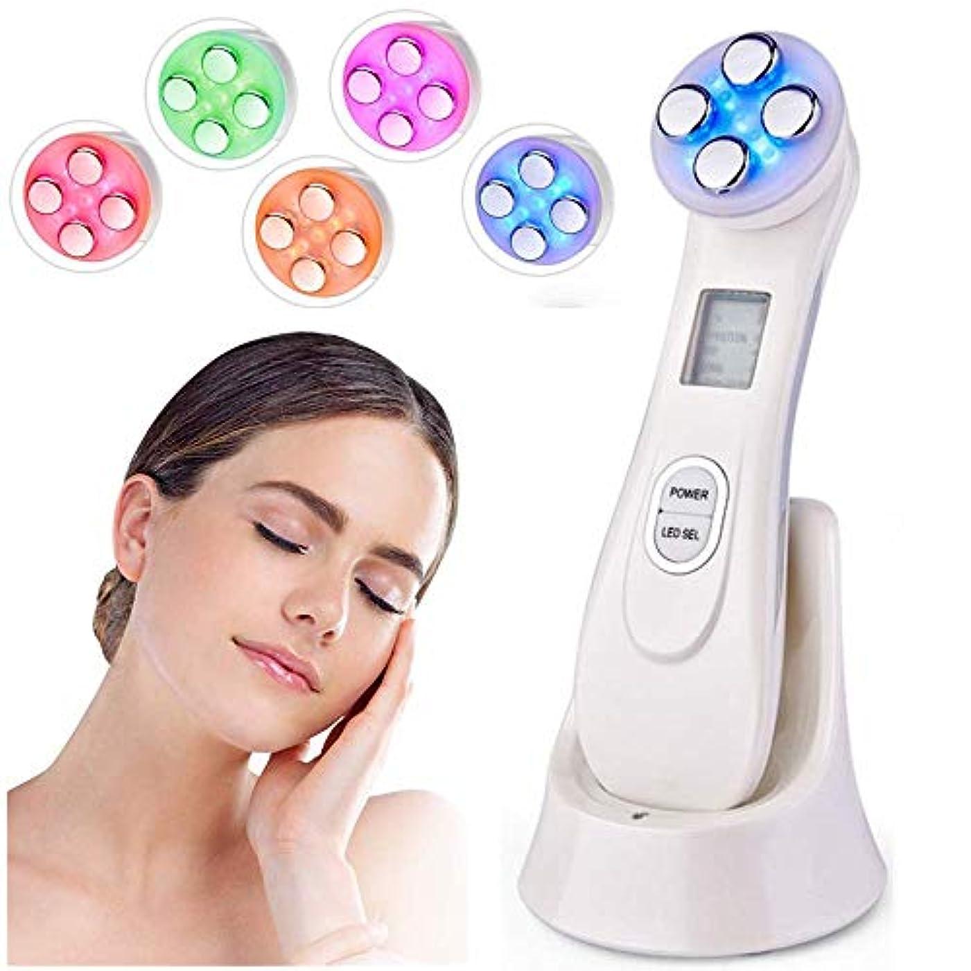 勇敢な斧実験的RF EMS LEDライトセラピー美容機顔の若返りしわ除去デバイス、顔のリフティングのために調整可能な6つの光モードで反しわを締めます