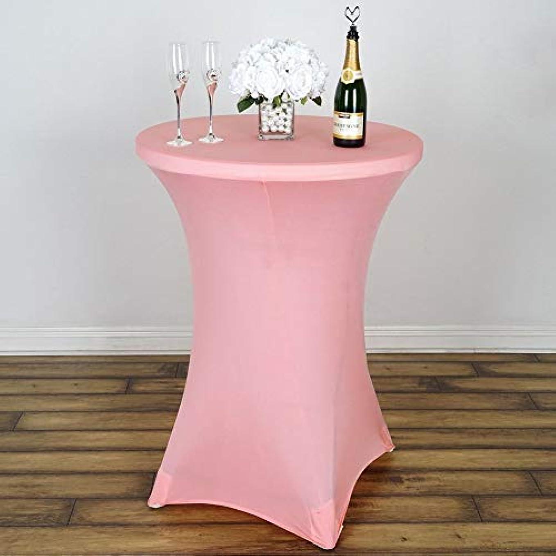 スプーン流行手つかずのストレッチソリッドカラー テーブルカバー,ポリエステル長方形 テーブルカバー 油-プルーフ防水 テーブル プロテクター アウトドアパーティー用-ピンク 60x110cm(24x43inch)