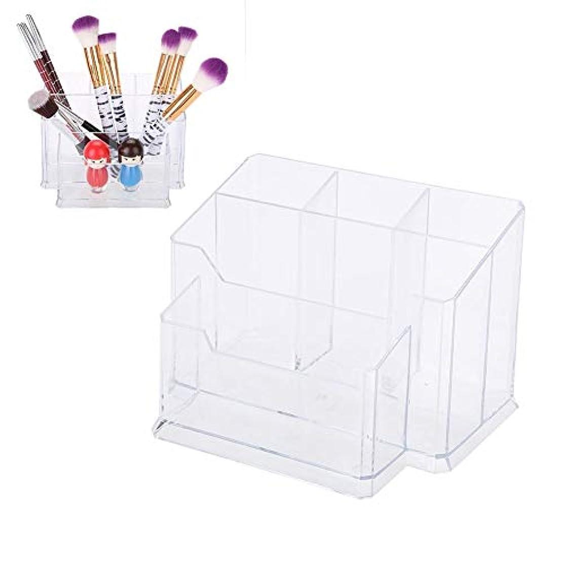 トロピカル他のバンドで青化粧ブラシ収納ボックス アクリル製 コスメ収納 スタンド 口紅 リップ 小物入れ 透明