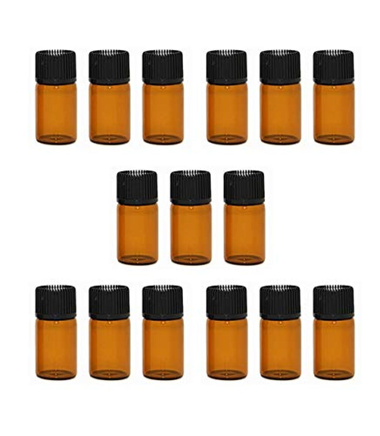 財政鋭くじゃない精油 小分け用 ボトル オイル 用 茶色 瓶 アロマオイル 遮光瓶 エッセンシャルオイル 保存瓶 3ml 15本セット