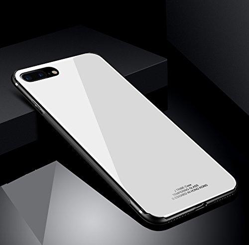 iPhone 8Plus 保護ケース iPhone 7Plus カバー TPU と強化ガラス背面板合わせて 滑り防止 全面保護 快適手触り きらきら オシャレ iPhone7 Plus と iPhone8 Plus 通用保護ケース (iPhone 7Plus/ iPhone 8Plus, ホワイト)