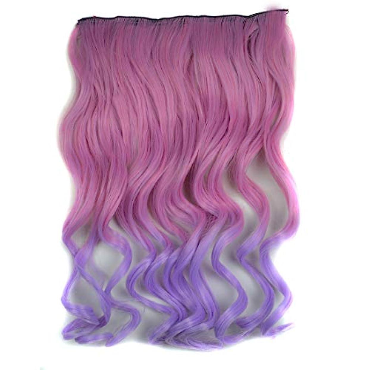 貪欲超越するマイクWTYD 美容ヘアツール ワンピースシームレスヘアエクステンションピースカラーグラデーション大波ロングカーリングクリップタイプヘアピース