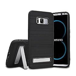Galaxy S8 ケース、[JPUP] スタンド機能付き Samsung Galaxy S8 5.8インチ用 耐衝撃 二重構造 軽量 防塵 耐衝撃カバー (Galaxy S8,ブラック)