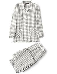 Vinvo パジャマ メンズ 長袖 綿100 前開き 二重 ガーゼ 上下 セット