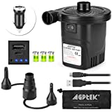 Rechargeable Air Pump, AGPTEK Electric Air Pump Quick-Fill Inflator & Deflator with 3 Nozzles, Lightweight & Portable Rechargeable Air Pump Perfect for Air Beds, Air Mattresses, Pool Toys & Inflatable