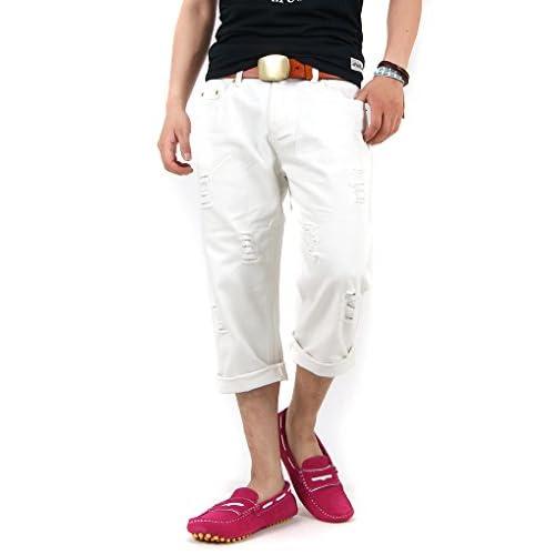 【サンタリート】 Santareet ダメージ加工 クロップド デニム パンツ M ホワイト