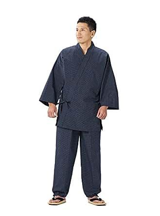 久留米文人織作務衣 日本製 高品質 (S, 紺)