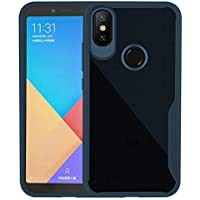 Xiaomi Mi A2/Mi 6X 用 ケース 滑り落ち防止 指紋を防ぐ 背面カバー 柔軟なシリコン TPU 超薄型 + 1 保護ガラス (硬度 9H,Glass)-青
