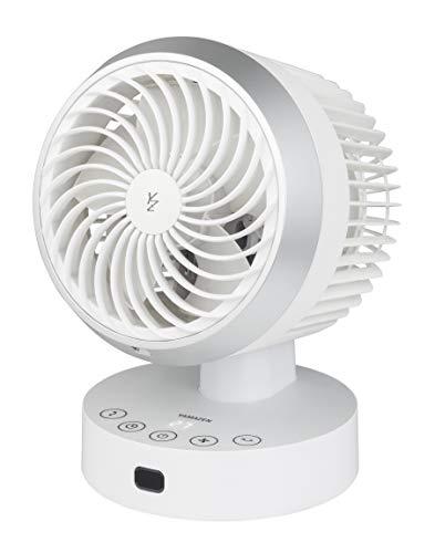 【Amazon.co.jp限定】山善 扇風機 15cm サーキュレーター 上下左右自動首振り 風量6段階調節 静音モード タイマー機能搭載 リモコン付き ホワイト×シルバー AAR-JSN15(WS)