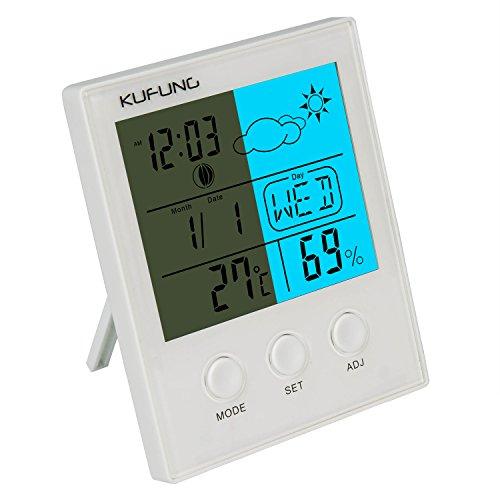 温湿度計 デジタル湿度モニターセンサー 温度/日付/天気/湿度/アラーム 大型液晶画面で見やすい