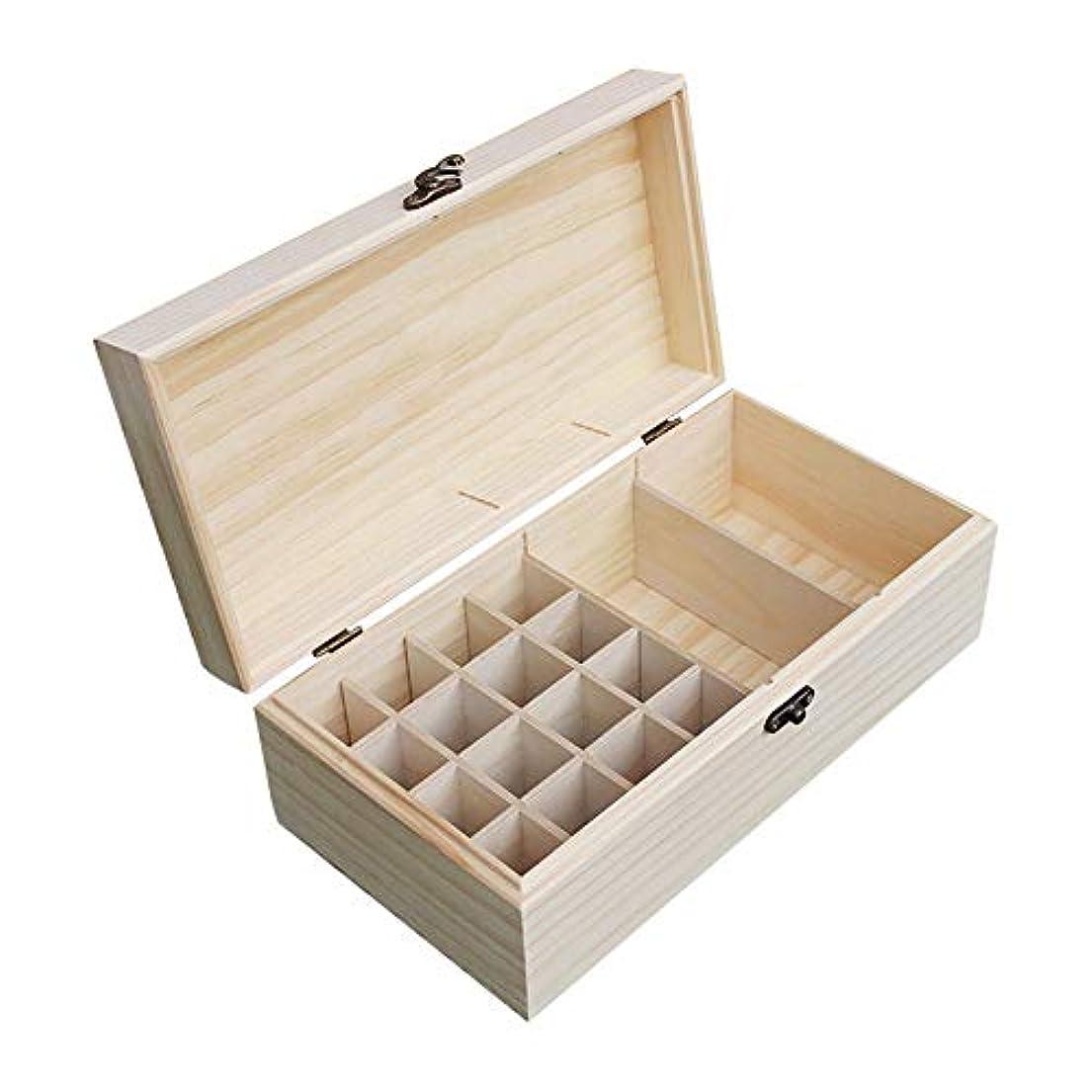 祖母複合タクトエッセンシャルオイルボックス 自然の松の18本のボトルは、あなたの精油収納ボックスオーガナイザーの安全性を維持するのが最善です アロマセラピー収納ボックス (色 : Natural, サイズ : 25.3X14.8X10CM)