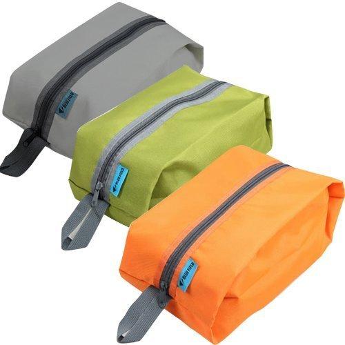 防水加工 3枚入り 収納袋 グレー オレンジ グリーン (靴...