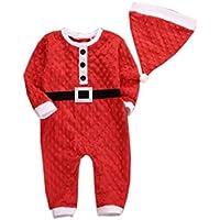 Burning Go ベビー服 クリスマス服 サンタクロース ロンパース 赤ちゃん 男の子 女の子 長袖 可愛い 出産祝い 2点セット