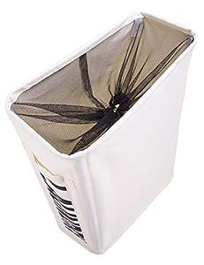 WISHPOOL ランドリーバスケット スリムタイプ アメリカ大人気 キャスター付き 防水 コーティング ラミー コットン オックスフォード ホワイトストレージバスケット 衣料品 ランドリーボックス