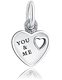 Lovena You & Me Dangle Charm 925 Sterling Silver Charms Fits Pandora, European Bracelets Compatible