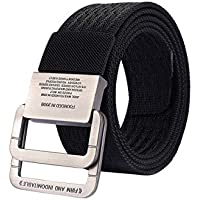 Nylon Canvas Belt for Mens Double Ring Metal Buckle Casual Outdoor Sports Waist Belt Zhhlaixing