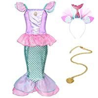 HenzWorld Little Mermaid Costume Dress Ariel Princess Girls Birthday Party Cosplay Halloween Outfit